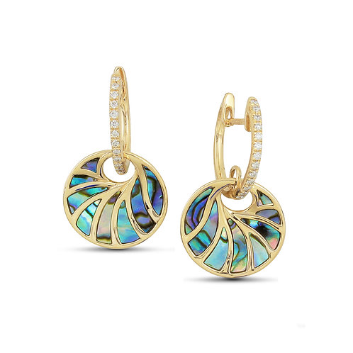 14 Karat Yellow Gold Abalone and Diamond Frederic Sage Earrings