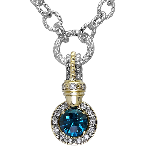 14 Karat Yellow Gold and Silver Blue Zircon and Diamond Alwand Vahan Pendant