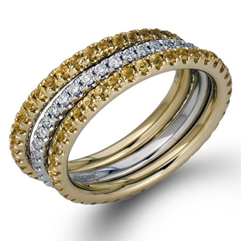 18 Karat White and Yellow Gold Diamond and Yellow Sapphire Simon G Set