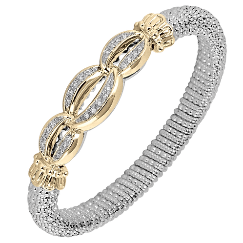 14 Karat Yellow Gold and Silver .44 ctw Diamond Alwand Vahan Bangle
