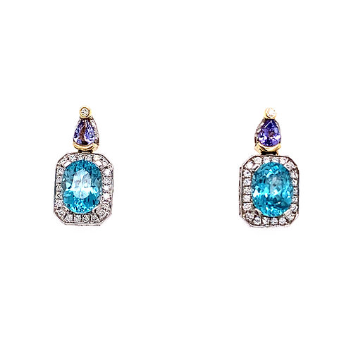 Denny Wong Blue Zircon and Tanzanite Earrings