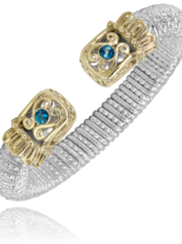 14 Karat Yellow Gold and Silver and Blue Topaz Alwand Vahan Bangle