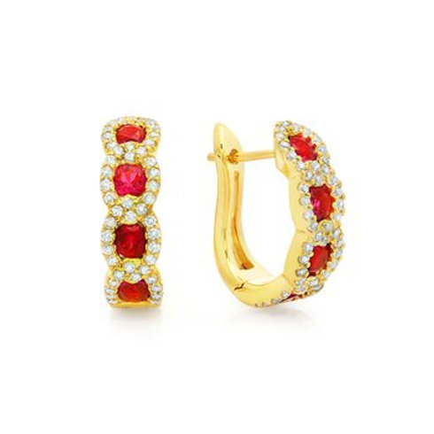 14 Karat Yellow Gold Ruby and Diamond Fana Hoop Earrings