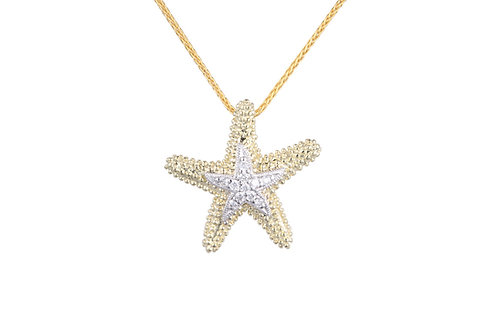 14 Karat Yellow and White Gold Denny Wong Starfish Pendant