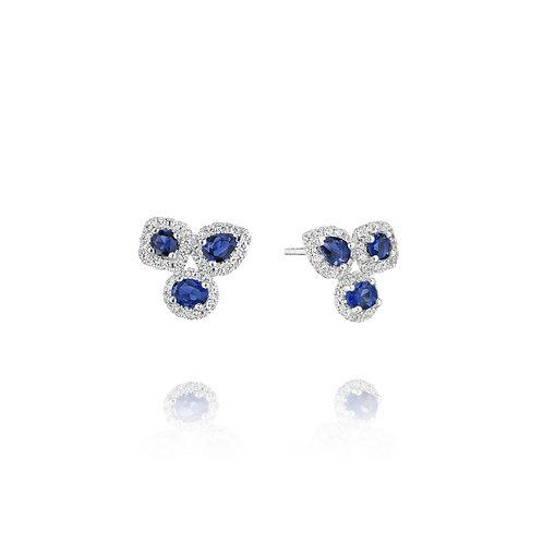 14 Karat White Gold Sapphire and Diamond Fana Studs