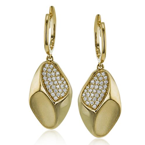 18 Karat Yellow Gold Diamond Simon G Earrings
