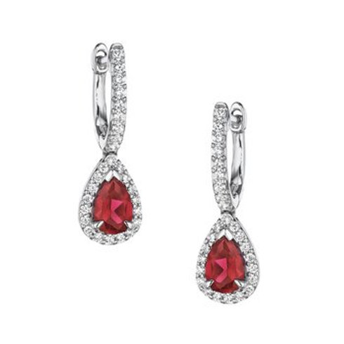 14 Karat White Gold Ruby and Diamond Fana Earrings