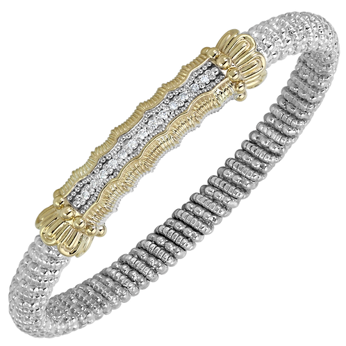 14 Karat Yellow Gold and Silver .20ctw Diamond Alwand Vahan Bangle