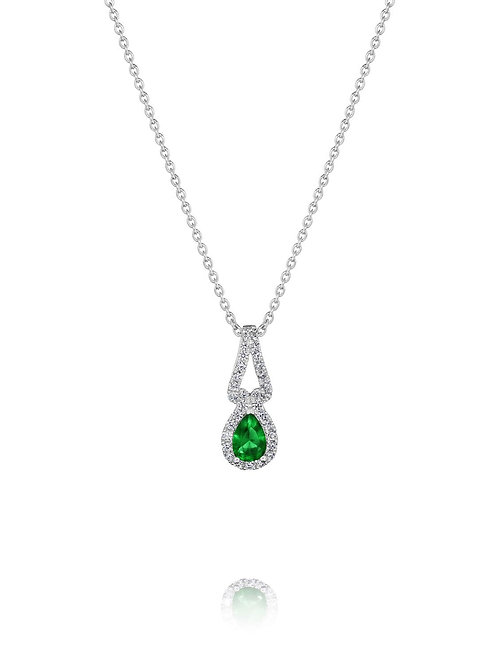 14 Karat White Gold Emerald and Diamond Fana Pendant