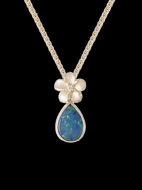 14 Karat Yellow Gold Opal Plumeria Pendant