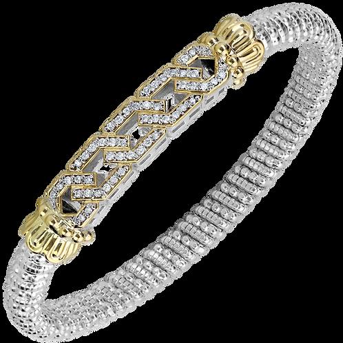 14 Karat Yellow Gold and Silver .38ctw Diamond Alwand Vahan Bangle