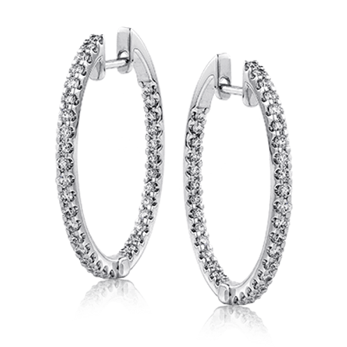 18 Karat White Gold In and Out Style Diamond Simon G Hoop Earrings