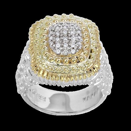 14 Karat Yellow Gold and Sterling Silver .18 Carat Alwand Vahan Ring