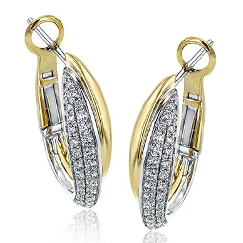 18 Karat White and Yellow Gold Diamond Simon G Hoop Earrings