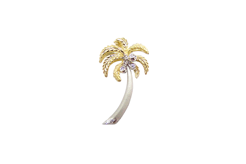 14 Karat White and Yellow Gold Denny Wong Palm Tree Pendant