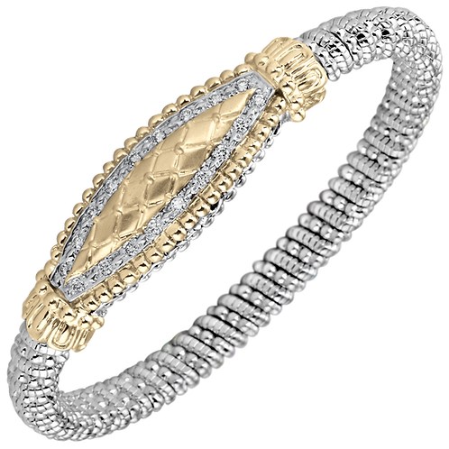 14 Karat Yellow Gold and Silver .36ctw Diamond Alwand Vahan Bangle