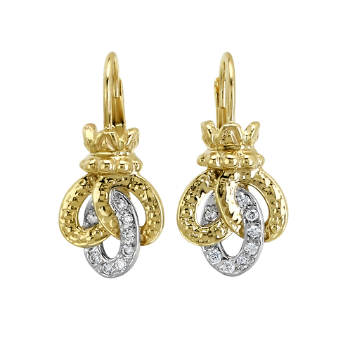 14 Karat Yellow Gold and Silver .12 Carat Alwand Vahan Earrings