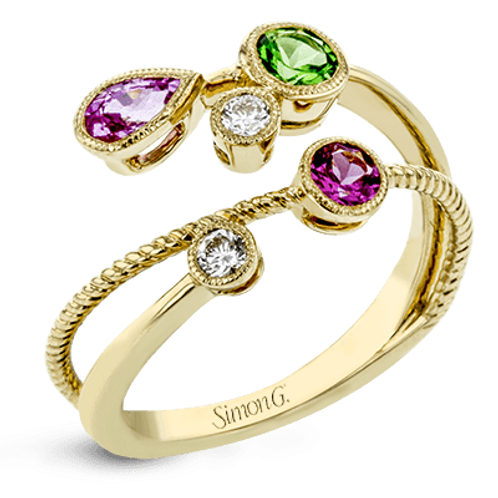 18 Karat Yellow Gold Multi Color Gemstone Simon G Ring
