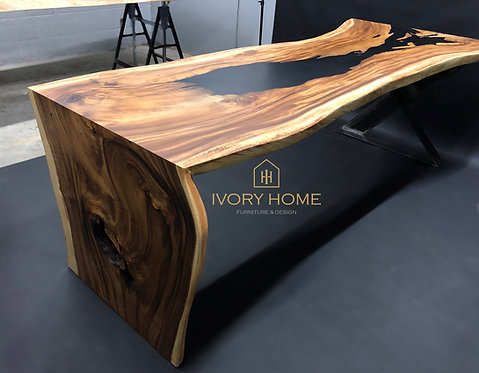 248 cm Black Matte Epoxy Resin Dining Table   Office Desk