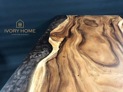 Dining Table | Epoxy Resin Brown Pearl and Suar Wood