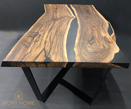 200 cm Black Matte Epoxy Resin and Black Walnut Wood