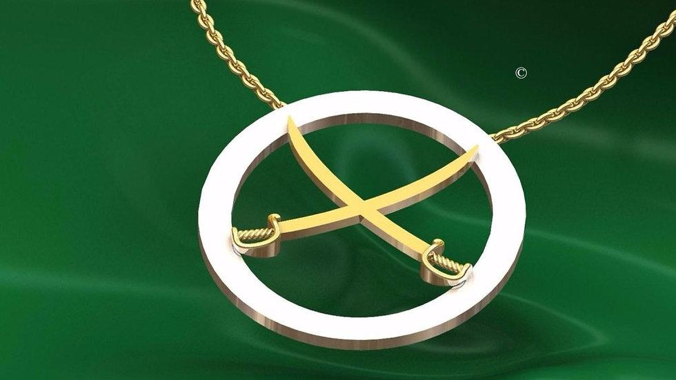 Collier Double Sabre Médaille Or + Argent