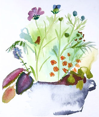 akvarellmålning på blommor i en vas