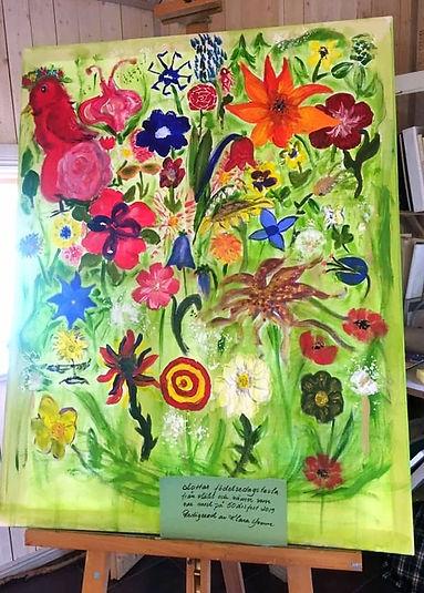 målad tavla på vackra blommor