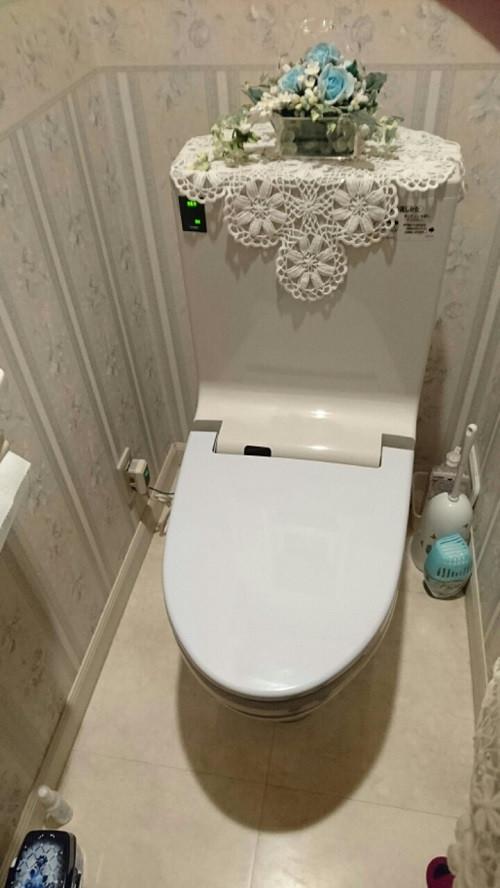 姫路市 アメージュZフチレスに使用するオート洗浄付きシャワートイレ トイレ} CW-EA13QC 取替え工事
