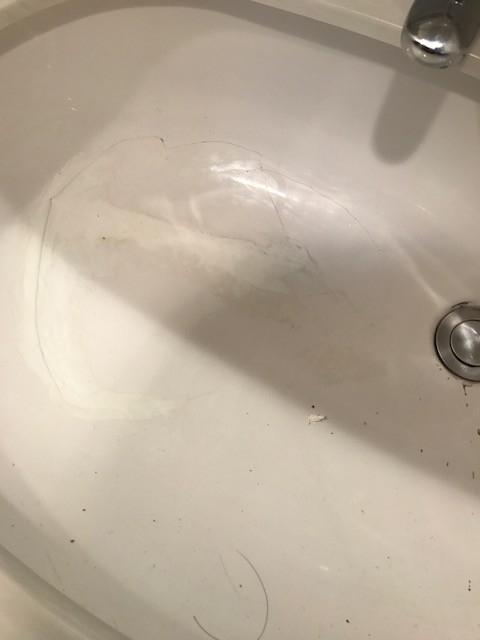 TOTO 洗面ボウルL587U交換 ひび割れ部