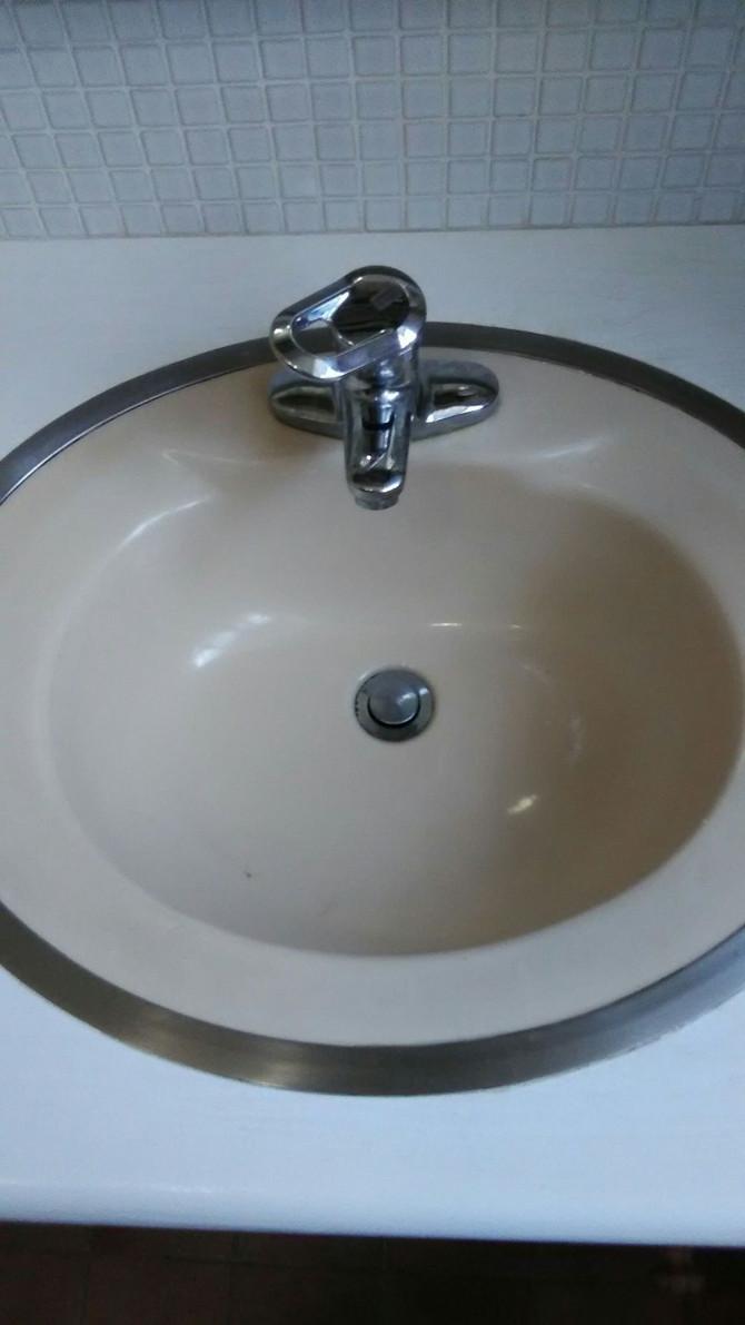 奈良県生駒市 洗面所シングルレバー水栓交換、洗面ボウルのヒビ割れ補修