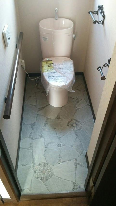 加古川市 トイレ改装工事 リフォーム 施工後 ピュアレストEX TOTO CF張り替え アプリコットF1