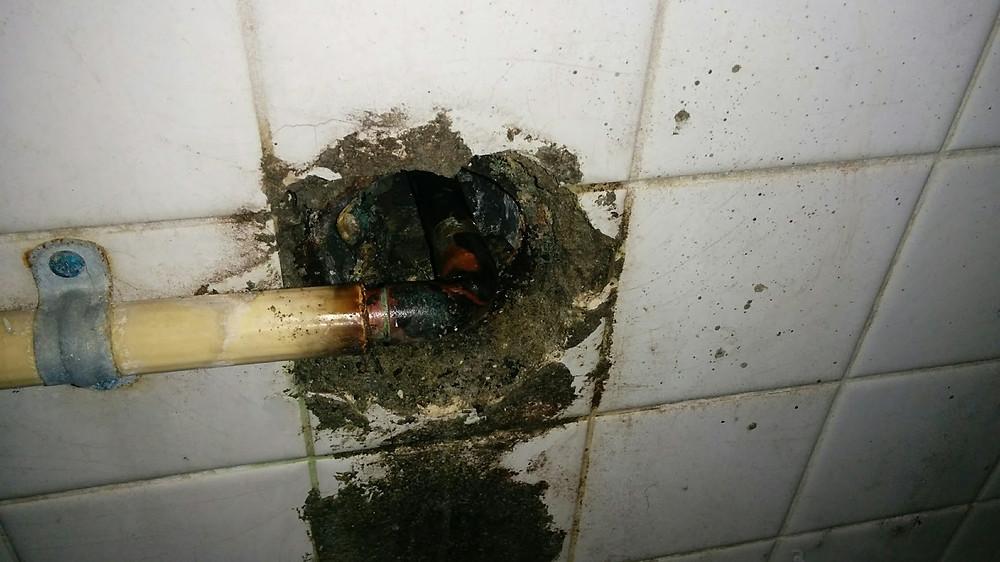 室内側 浴室漏水箇所 給湯管