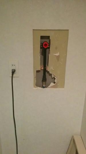 洗濯防水パン 水栓移設工事 配管