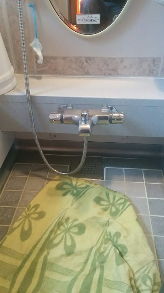 浴室サーモスタットシャワー水栓交換工事 施工前 グローエ