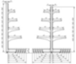 Габаритные размеры стеллажей Русь серии СК