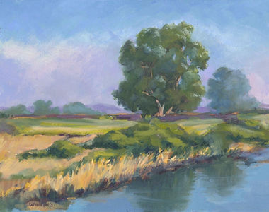 Lynne Whiting Robertson Pacheco Pond in Purple Oil on panel 11x14
