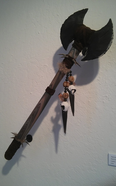 Kale Haschak Shrike Axe Blown and sculpted glass, leather, thorns, feathers, see