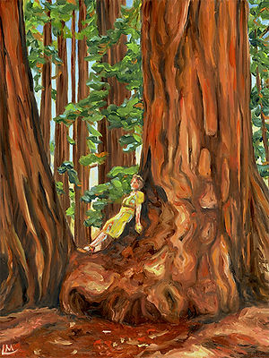 Linda MacDonald Girl Relaxing on Burl