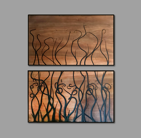 Jonah Ward, Burnt Panel Diptych No. 78
