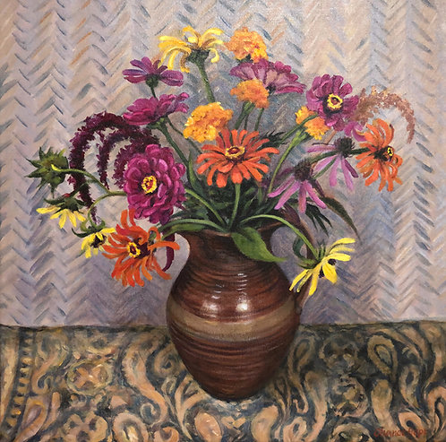 Judy Chance Hope,  Autumn Zinnias