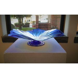 Kale Haschak Footed bowl, blue. Blown glass 16x16x5