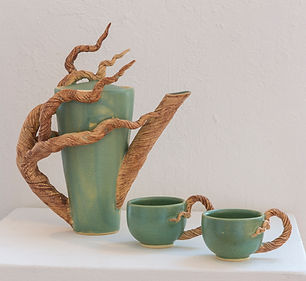 """Branch Teapot and 2 cups,  11""""x 6"""" x 6"""""""