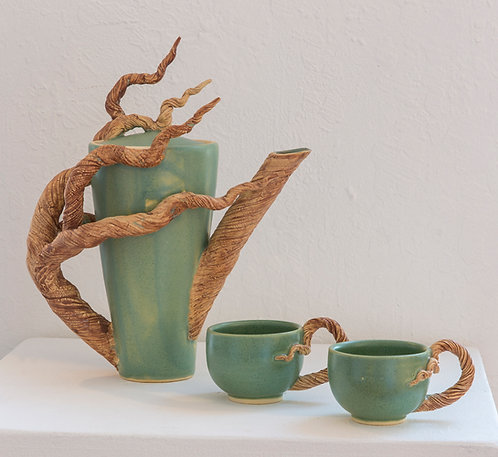 "Branch Teapot and 2 cups,  11""x 6"" x 6"""