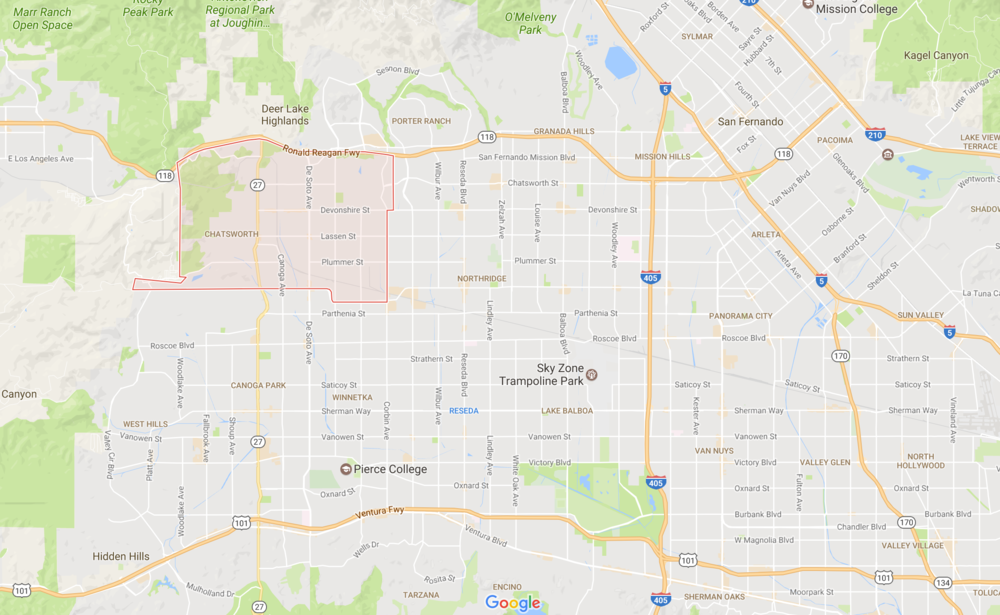 Chatsworth Map San Fernando Valley