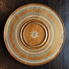 Dot painted wooden tray