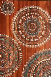 Dotpainted on wood- SOLD