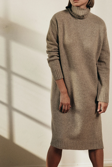 Fine Merino Wool Turtleneck Midi