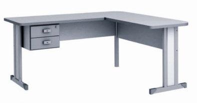 Mesa em L com 2 gavetas