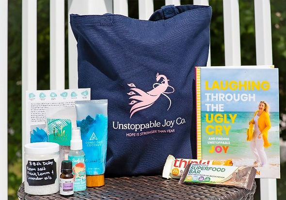 Unstoppable Joy Healing bag with items displayed in bag.
